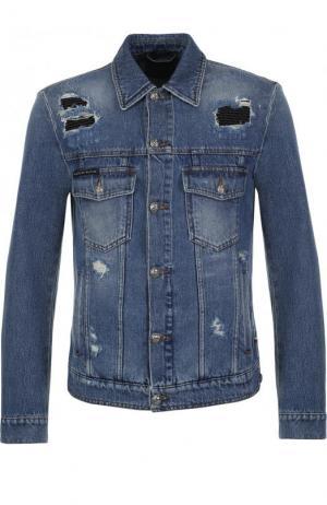 Джинсовая куртка на пуговицах с потертостями Philipp Plein. Цвет: голубой
