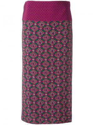 Юбка миди с геометрическим принтом Aspesi. Цвет: розовый и фиолетовый