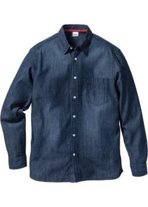 Джинсовая рубашка Regular Fit с длинным рукавом (темно-синий) bonprix. Цвет: темно-синий