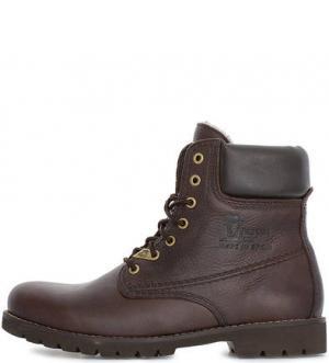 Коричневые кожаные ботинки на шнуровке Panama Jack. Цвет: коричневый