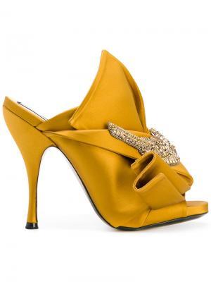 Embellished bow mules Nº21. Цвет: жёлтый и оранжевый