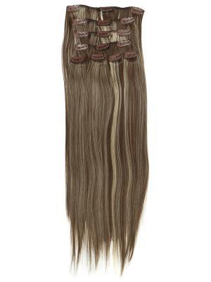 Накладные волосы, пряди на заколках-клипсах Lika VIP-PARIK. Цвет: коричневый, молочный