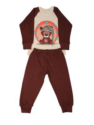 Пижама: джемпер, брюки Sladikmladik. Цвет: коричневый