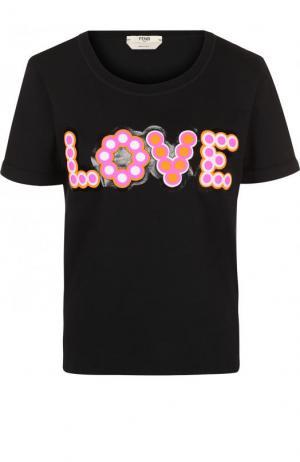 Хлопковая футболка с контрастной надписью Fendi. Цвет: черный