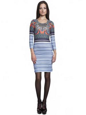 Платье FRENCH HINT. Цвет: голубой, оранжевый, зеленый, морская волна