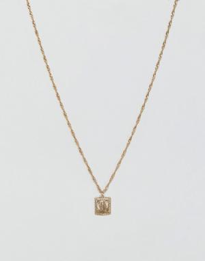 ASOS Ожерелье с медальоном. Цвет: золотой
