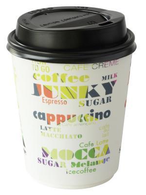 Стаканы для горячих напитков с крышкой DUNICEL COFFE TO GO, 240 мл DUNI. Цвет: белый, черный, синий, салатовый