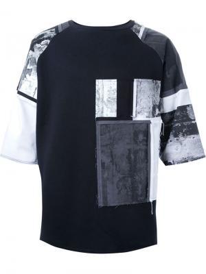 Лоскутная футболка Liam Hodges. Цвет: чёрный