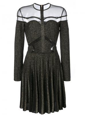 Платье в рубчик с сетчатыми вставками Elie Saab. Цвет: чёрный