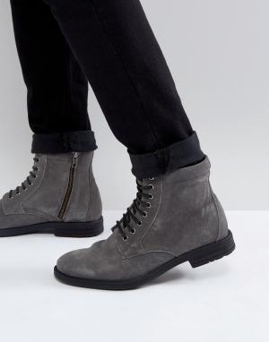 KG Kurt Geiger Черные ботинки на шнуровке в стиле милитари By. Цвет: серый
