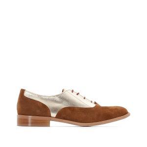 Ботинки-дерби кожаные из двух материалов La Redoute Collections. Цвет: темно-бежевый