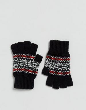 Glen Lossie Черные перчатки без пальцев с узором Фэйр‑Айл из овечьей шерсти L. Цвет: черный