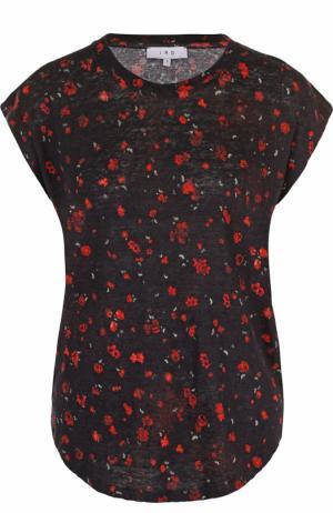 Удлиненная льняная футболка с цветочным принтом Iro. Цвет: разноцветный