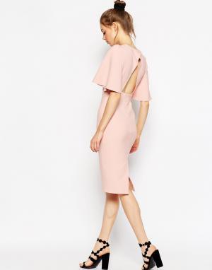 ASOS Платье-футляр с большими рукавами ангел и открытой спиной. Цвет: розовый