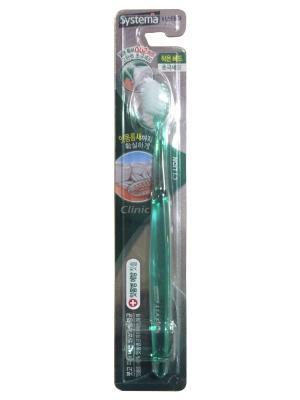 Компактная зубная щетка D. Systema система глубокой очистки (мягкая жесткость) зеленая Cj Lion. Цвет: зеленый