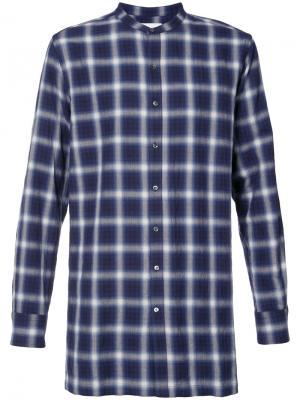 Клетчатая рубашка без воротника Ovadia & Sons. Цвет: синий