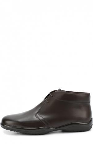 Кожаные ботинки с внутренней отделкой из овчины Bally. Цвет: темно-коричневый