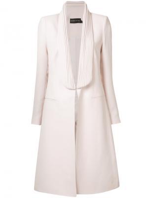 Приталенное пальто без застежек Brandon Maxwell. Цвет: розовый и фиолетовый