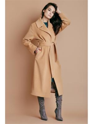 Пальто шерстяное бежевое на поясе Welldress. Цвет: бежевый
