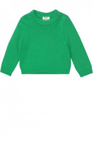 Шерстяной свитер с круглым вырезом Acne Studios. Цвет: зеленый