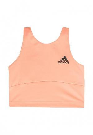 Топ спортивный adidas. Цвет: оранжевый