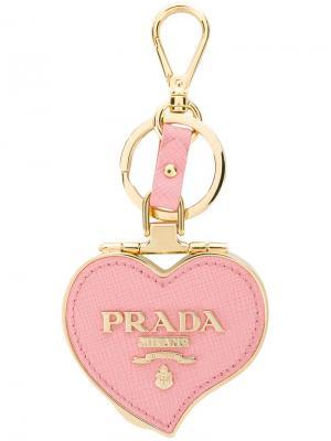 Брелок в виде сердца Prada. Цвет: розовый и фиолетовый