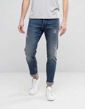 Only & Sons Синие выбеленные прямые джинсы с потертостями. Цвет: синий