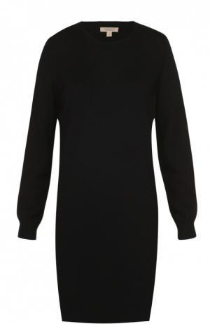 Вязаное платье с длинным рукавом и заплатками Burberry. Цвет: черный