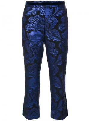Жаккардовые укороченные брюки Christian Pellizzari. Цвет: синий