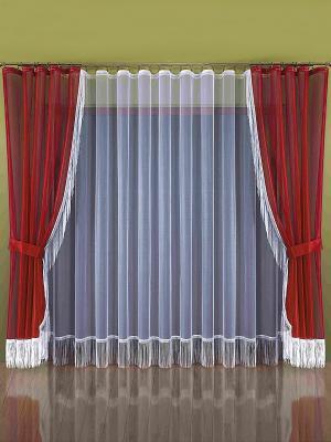 Комплект штор Wisan. Цвет: темно-красный, белый