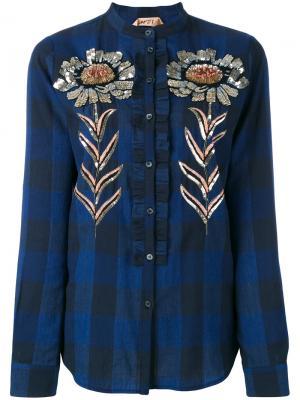 Рубашка декорированная пайетками Nº21. Цвет: синий