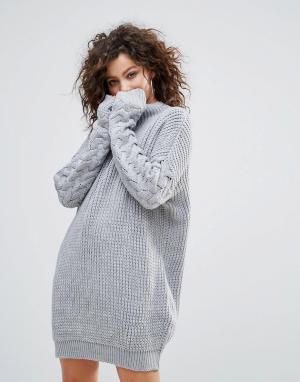 Lasula Платье-джемпер крупной вязки. Цвет: серый