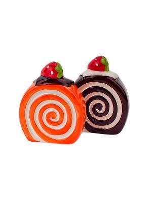 Набор  солонка и перечница Бисквит Elff Ceramics. Цвет: коричневый, оранжевый