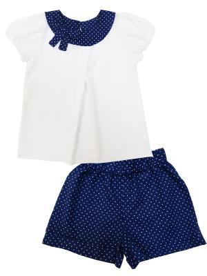 Комплект (блузка короткий рукав + шорты), Батистовое лето Soni kids. Цвет: белый, синий