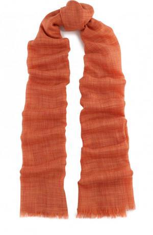 Шарф из смеси кашемира и шелка с необработанным краем Loro Piana. Цвет: оранжевый