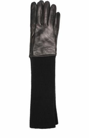 Удлиненные кожаные перчатки с текстильной отделкой Sermoneta Gloves. Цвет: черный