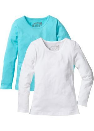 Однотонная футболка с длинными рукавами (2 шт.) (аква/белый) bonprix. Цвет: аква/белый