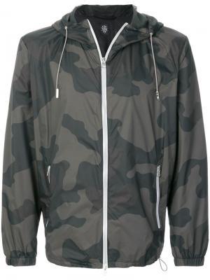 Куртка-бомбер с капюшоном и камуфляжным принтом Eleventy. Цвет: зелёный