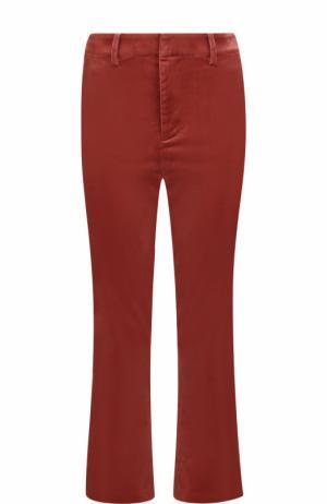 Бархатные расклешенные брюки Frame Denim. Цвет: темно-розовый