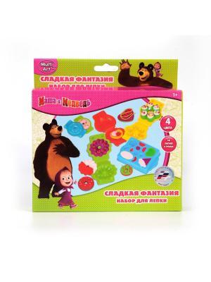 Набор тесто для лепки MULTIART Маша и медведь сладкие фантазии. Играем вместе. Цвет: салатовый, розовый