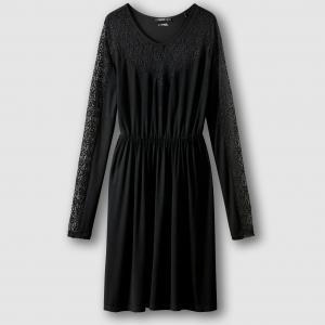 Платье с длинными рукавами из кружева, ROSELYN SCHOOL RAG. Цвет: черный
