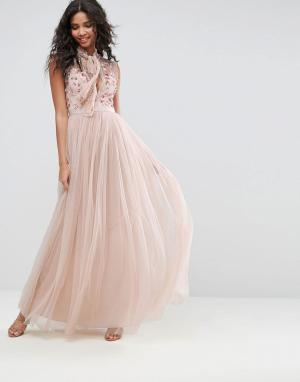 Needle & Thread Платье с цветами на топе. Цвет: розовый