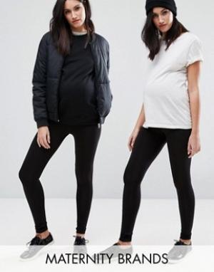 New Look Maternity 2 пары леггинсов для беременных. Цвет: черный