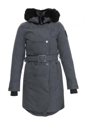 Парка-пуховик с поясом и капюшоном UrsulaFW Nobis. Цвет: серый