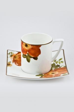 Кофейная пара 6 шт. 100 мл Royal Porcelain. Цвет: белый, черный, оранжевый