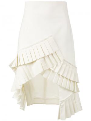 Асимметричная юбка с плиссировкой Jacquemus. Цвет: телесный