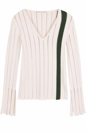 Облегающий пуловер с перфорацией и V-образным вырезом Marco de Vincenzo. Цвет: разноцветный