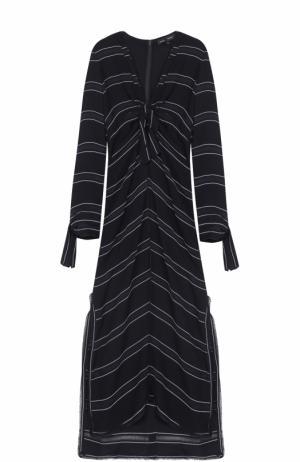Платье-миди с высокими разрезами и бантом Proenza Schouler. Цвет: черно-белый