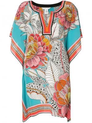 Платье с цветочным узором Trina Turk. Цвет: синий