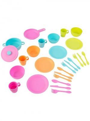 Кухонный игровой набор посуды Делюкс KidKraft. Цвет: светло-зеленый, голубой, оранжевый, розовый